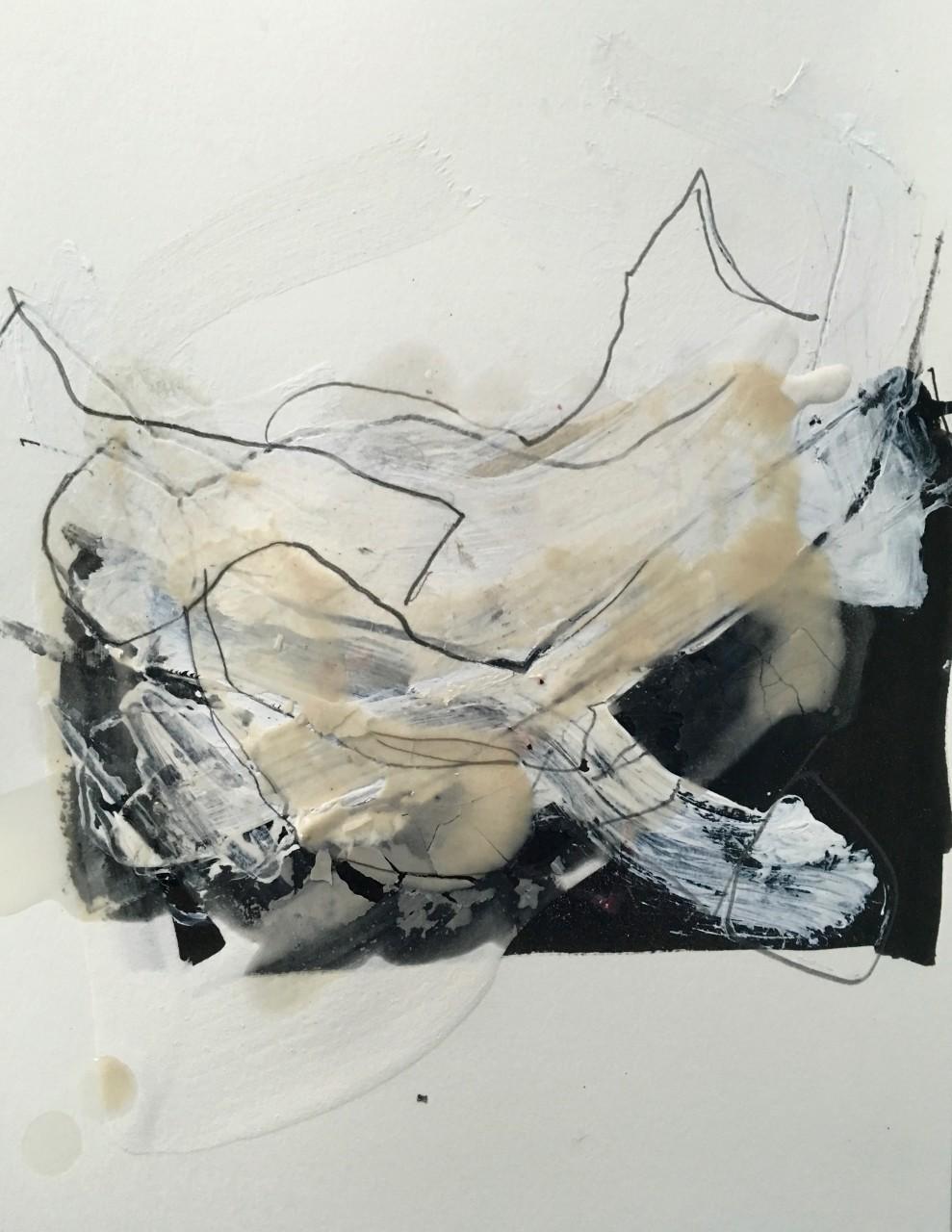 ecce homo mixed media drawing on paper of fallen human figure