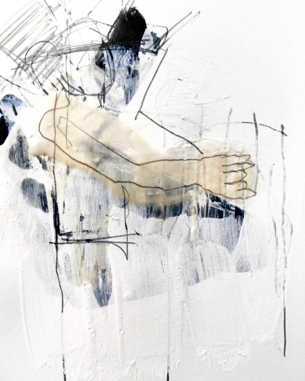 mixed media drawing of human figure
