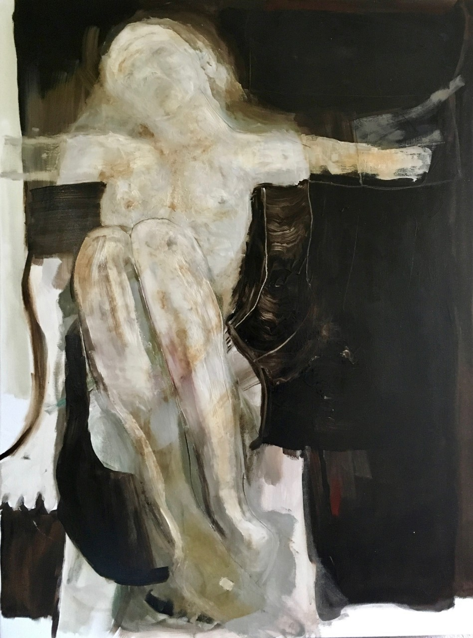 original contemporary oil painting of a death bed